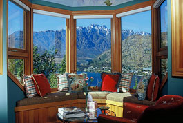 View from the  Wakatipu Gold Suite looking across Lake Wakatipu with the Remarkable Mountains in the background- click for more pictures and details.