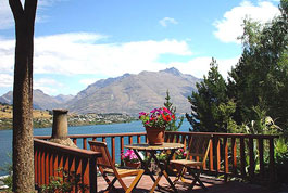 View from the  Wakatipu Gold Suite looking across Lake Wakatipu with Cecil Peak in the background- click for more pictures and details.